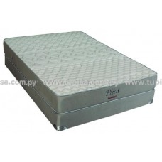 BASE C/COLCHON 140X190 PLUS SUEÑOLAR + 2 ALMOHADAS MARRON/BLANCO